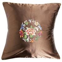 Fine Asianliving Decoratieve Kussen Chinese Bloemen Geborduurd Bruin 45x45cm