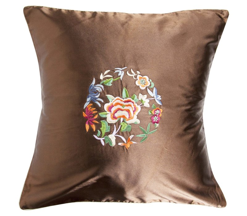 Chinese Cushion Brown Flowers 40x40cm