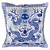 Fine Asianliving  Chinese Cushion Fully Embroidered White Dragon 40x40cm Whiteout Filling