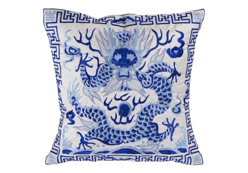 Fine Asianliving Fine Asianliving  Chinese Cushion Fully Embroidered White Dragon 40x40cm Whiteout Filling
