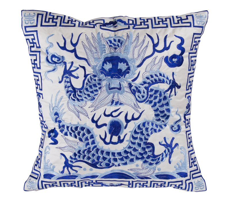 Chinese Cushion 40x40cm Hand Embroidered White Dragon