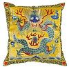 Fine Asianliving Chinese Cushion Cover 40x40cm Hand-embroidered Yellow Dragon without Filling