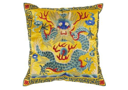 Fine Asianliving Chinese Kussenhoes 40x40cm Handgeborduurd Geel Draak Zonder Vulling