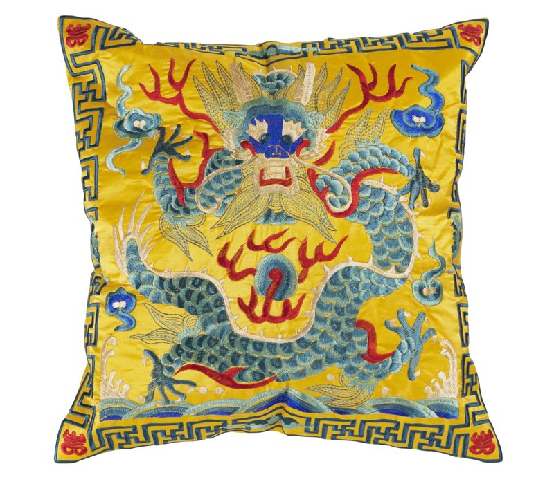 Chinese Cushion Cover 40x40cm Hand-embroidered Yellow Dragon without Filling