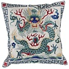 Fine Asianliving Chinese Cushion Cover 40x40cm Hand-embroidered White Dragon without Filling