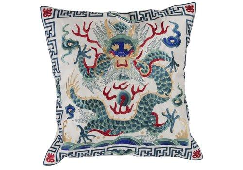 Fine Asianliving Chinese Kussenhoes 40x40cm Handgeborduurd Wit Draak Zonder Vulling