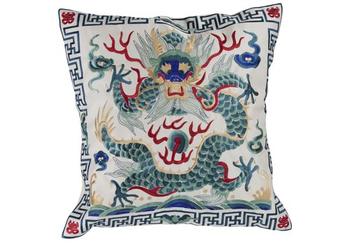 Fine Asianliving Chinese Cushion Hand-embroidered Off-White Dragon 40x40cm