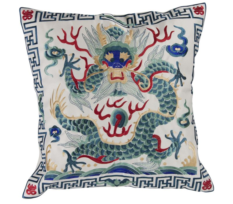 Chinese Cushion Hand-embroidered Off-White Dragon 40x40cm