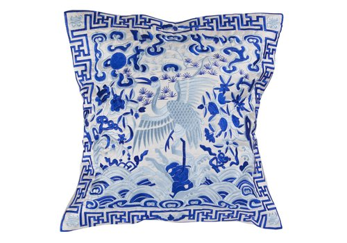 Fine Asianliving Chinese Cushion Cover 40x40cm Hand-embroidered White Crane without Filling