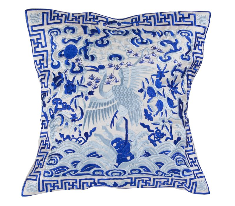 Chinese Cushion Cover 40x40cm Hand-embroidered White Crane without Filling