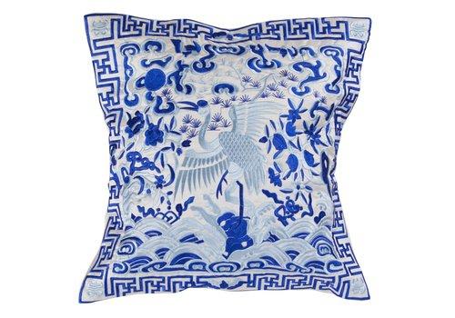 Fine Asianliving Chinesisches Kissen Handbestickt Weiß Kranich 40x40cm