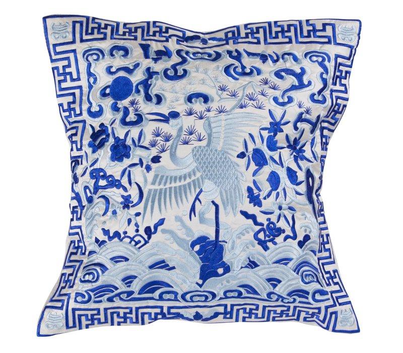 Chinesisches Kissen Handbestickt Weiß Kranich 40x40cm