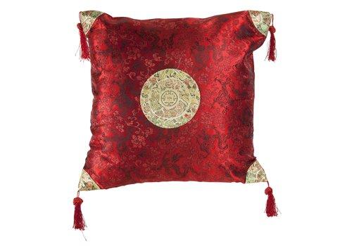 Fine Asianliving Chinese Decoratieve Kussen Rood Goud Draken 40x40cm