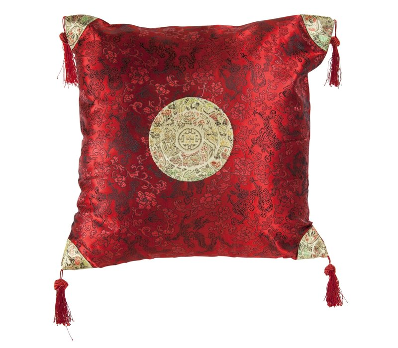 Fine Asianliving Chinese Decorative Cushion Dark Red Gold Dragons 40x40cm