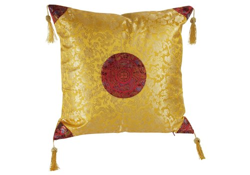 Fine Asianliving Chinese Cushion Yellow with Gold Tassels 40x40cm