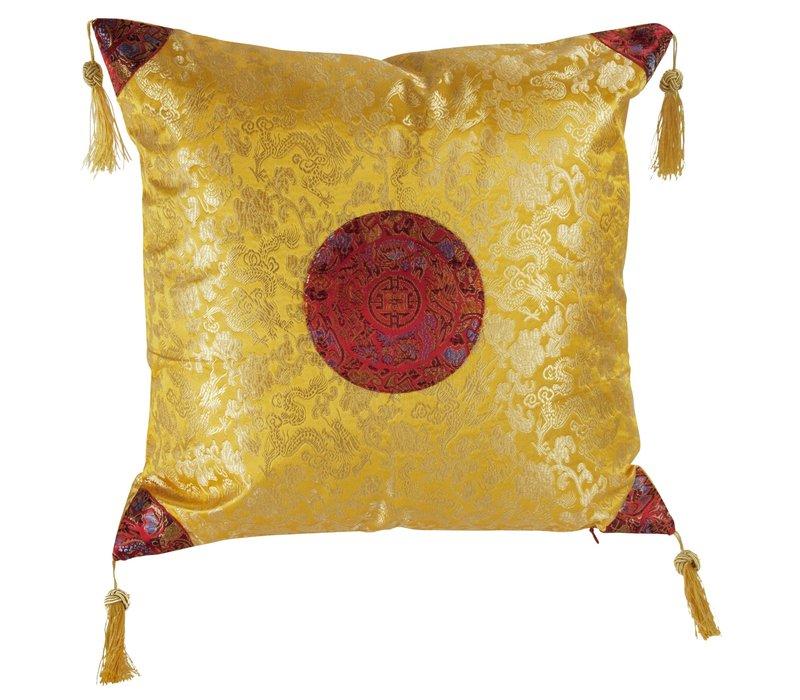 Chinese Kussen Geel met Goud Kwastjes 40x40cm