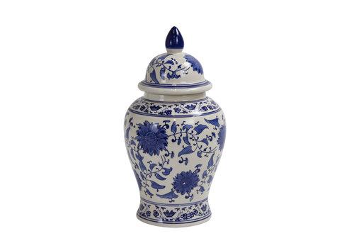 Fine Asianliving Pot à Gingembre Chinois Bleu et Blanc Peint à la Main Diam25xH46cm