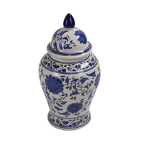 Chinese Ginger Jar Blue White Hand Painted Porcelain D25xH46cm