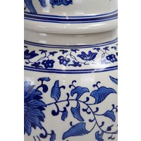 Chinesisches Ingwerglas Blau Weiß Handbemaltes Porzellan D25xH46cm