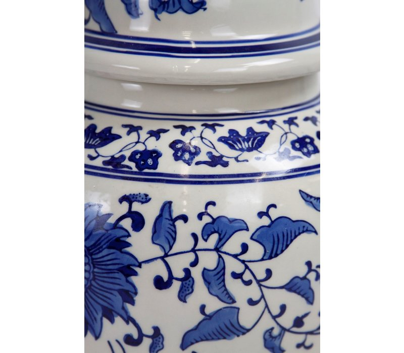 Tarro de jengibre chino porcelana azul blanca pintada a mano D25xH46cm