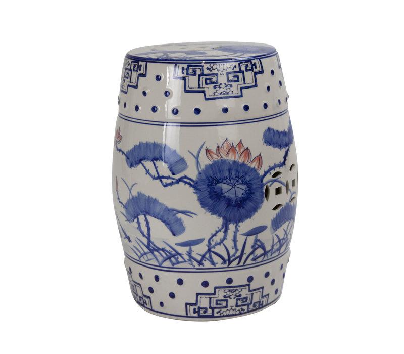 Ceramic Garden Stool D33xH46cm Porcelain Handmade B-010