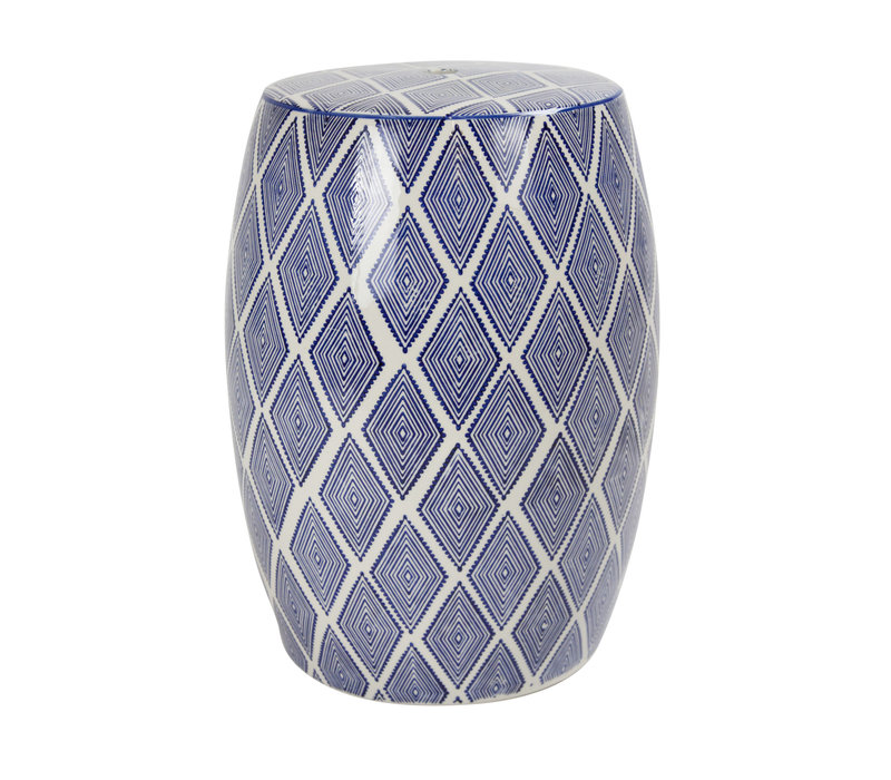 Taburete de cerámica para jardín D33xA46cm Porcelana hecha a mano B-085