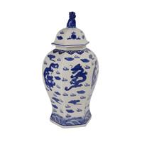 Pot à Gingembre Chinois Bleu et Blanc Peint à la Main L33xP29xH61cm