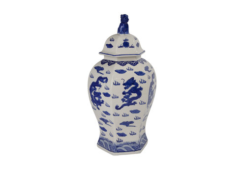 Fine Asianliving Tarro de Jengibre Chino Porcelana Pintado a Mano Azul y Blanco Anch.33 x Prof.29 x Alt.61 cm