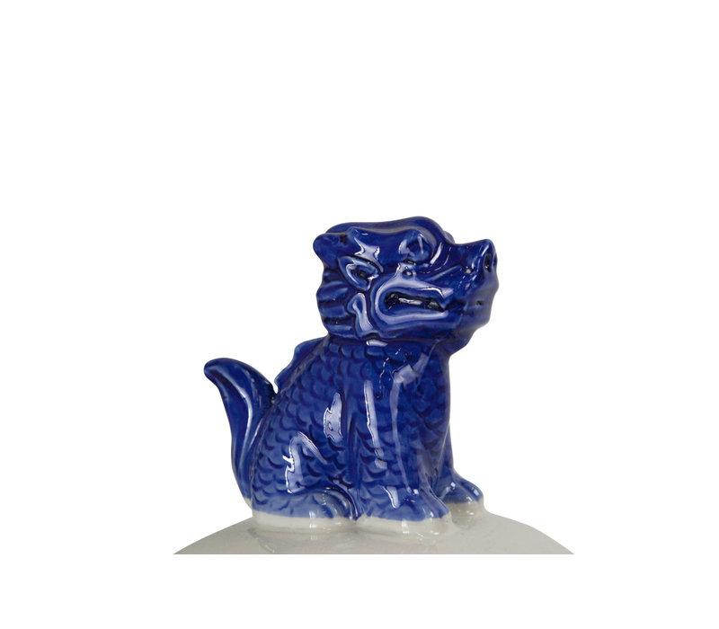 Chinese Gemberpot Blauw Wit Handgeschilderd Porselein B33xD29xH61cm