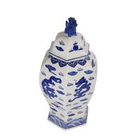 Vaso Ginger Jar Cinese in Porcellana Dipinto a Mano Blu e Bianco L33xP29xA61cm