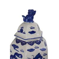 Chinese Gemberpot Blauw Wit Handbeschilderd Porselein B33xD29xH61cm