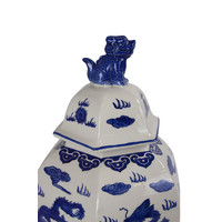 Chinese Ginger Jar Hand-painted Porcelain Blue White W33xD29xH61cm