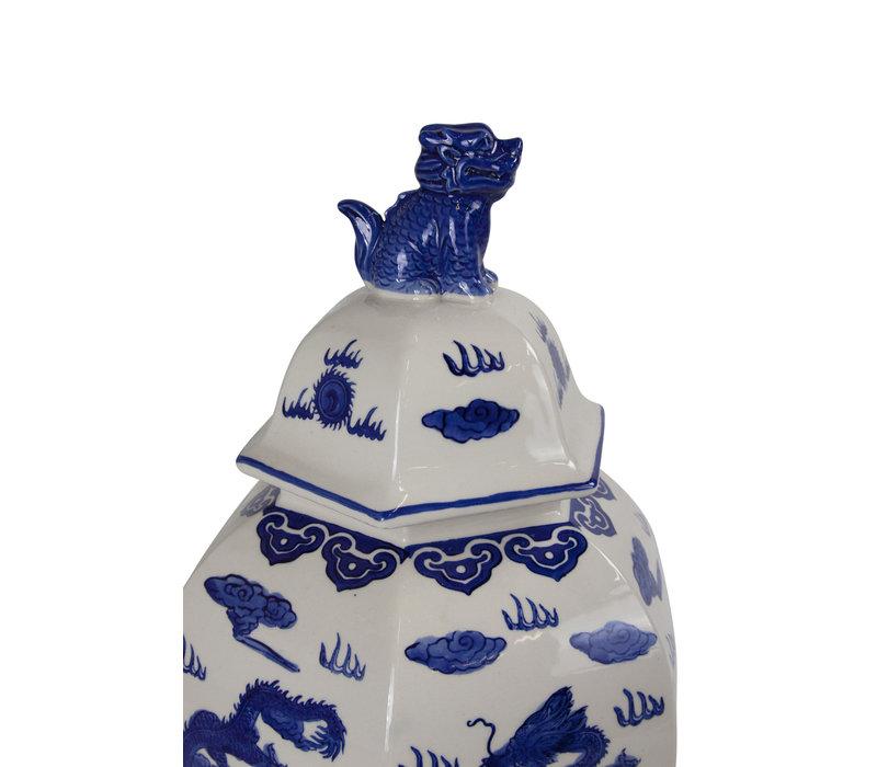 Tarro de Jengibre Chino Porcelana Pintado a Mano Azul y Blanco Anch.33 x Prof.29 x Alt.61 cm