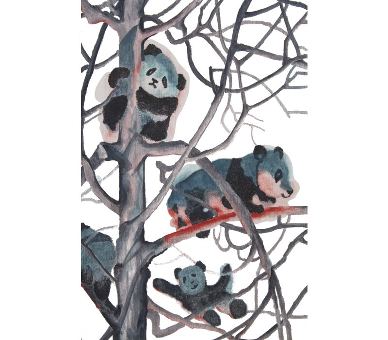 Oil Painting 100% Handmade Chinese Pandas in Trees 70x120cm
