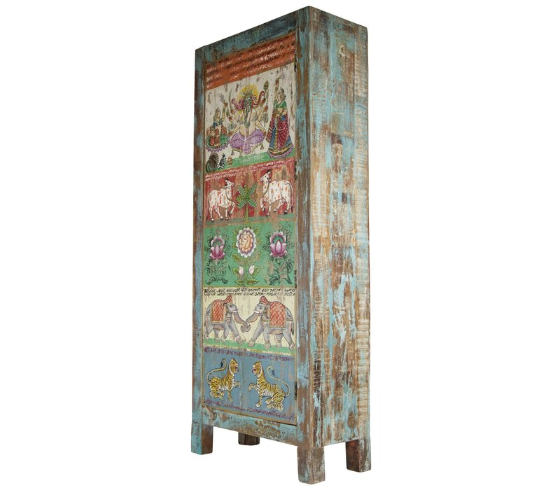 Wooden Indian Cabinet Handmade 75x36x187cm Handmade in India