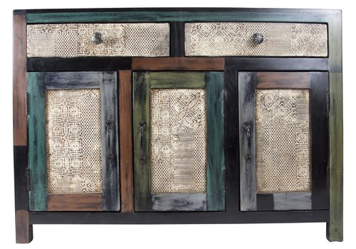 Fine Asianliving Credenza Indiana di Legno Fatto a Mano in India L102xP31xA73cm