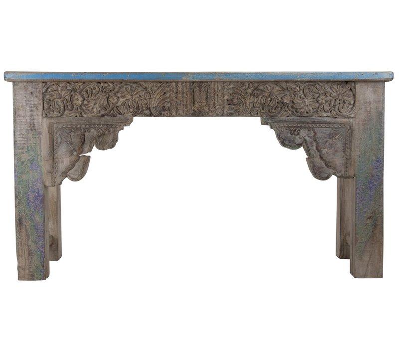 Indisch Console Tafel Handgesneden Hout 42x152x79cm Handgemaakt in India