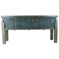 Indian Console Table Storage Handcrafted Wood Handmade in India W158xD42xH80cm