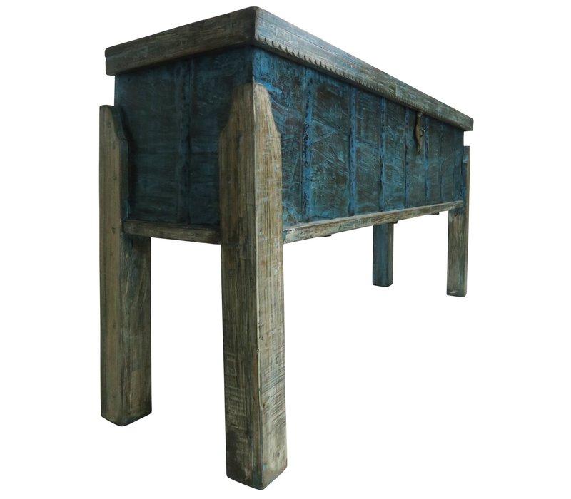 Table Console Indienne en Bois Fait Main en Inde L158xP42xH80cm