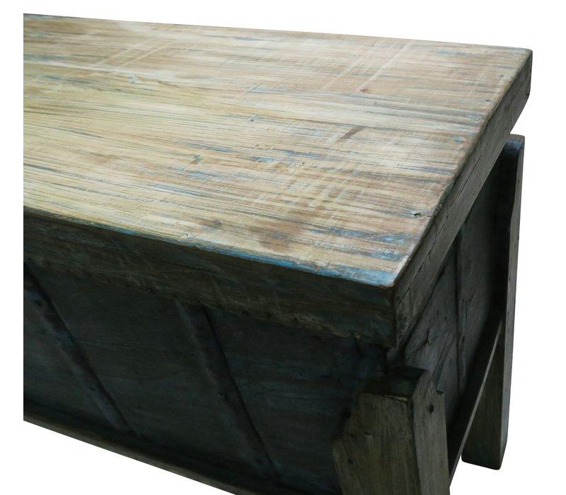 Indisch Console Opberg Tafel Handgesneden Hout 42x158x80cm Handgemaakt in India