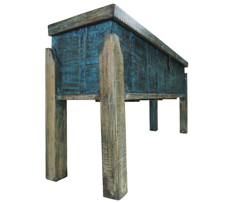 Indischer Konsolentisch mit Lagerplatz Holz Handgefertigt in Indien B158xT42xH80cm