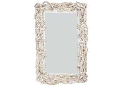 Fine Asianliving Rechthoekige Wandspiegel Solide houten Lianen Takken L110xB70cm
