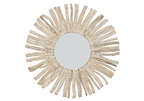Fine Asianliving Round Wall Mirror Solid Wooden Lianas Branches D100cm