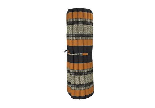 Fine Asianliving Matelas Thaï Enroulable en Coton et Kapok - 100x200cm - Noir Orange