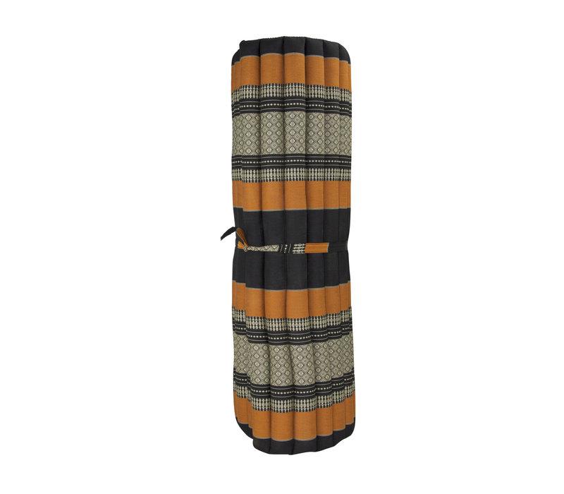 Thaise Mat Oprolbaar Matras 200x100x4.5cm Zwart Oranje