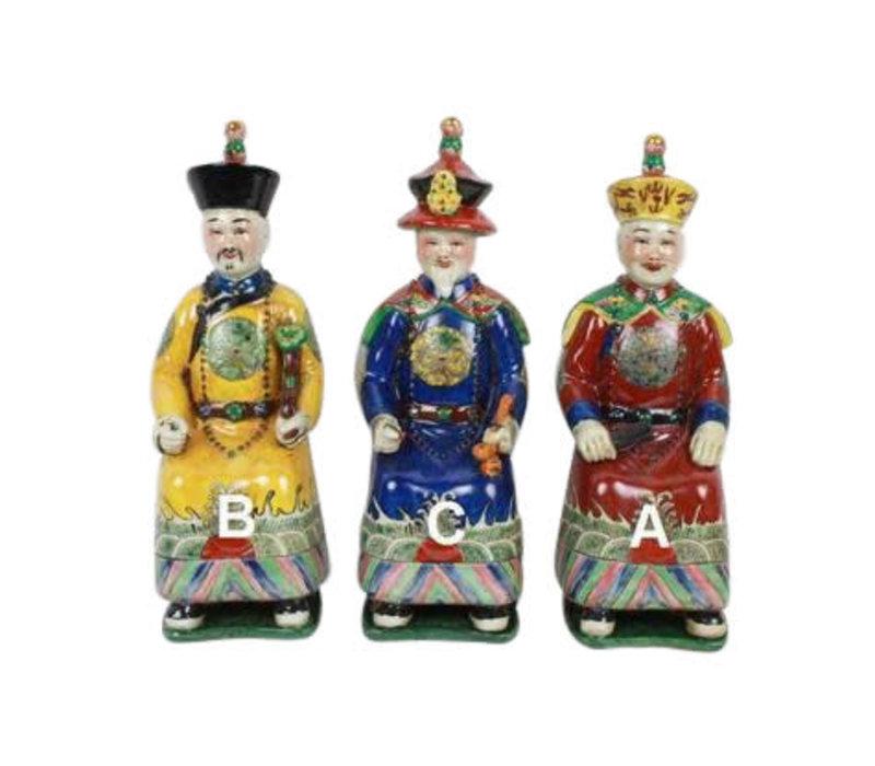 Chinese Keizers Porselein Kleur Set/3 Zittend