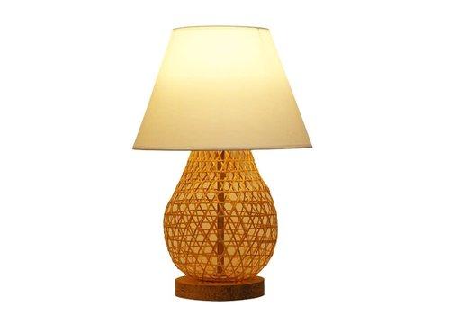 Fine Asianliving Lampe de Table en Bambou Webbing Fait Main - Wylie D.30xH44cm