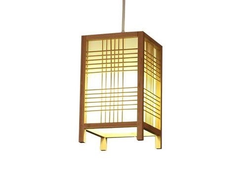 Fine Asianliving Lampada a Sospensione Giapponese di Legno e Carta Shoji Naturale - Isumi L15xP15xA25cm