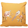Fine Asianliving Cushion with Hand-embroidered Rose and Bird Yellow 50x50cm
