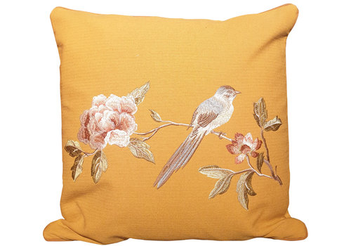 Fine Asianliving Fine Asianliving Cushion with Hand-embroidered Rose and Bird Yellow 50x50cm